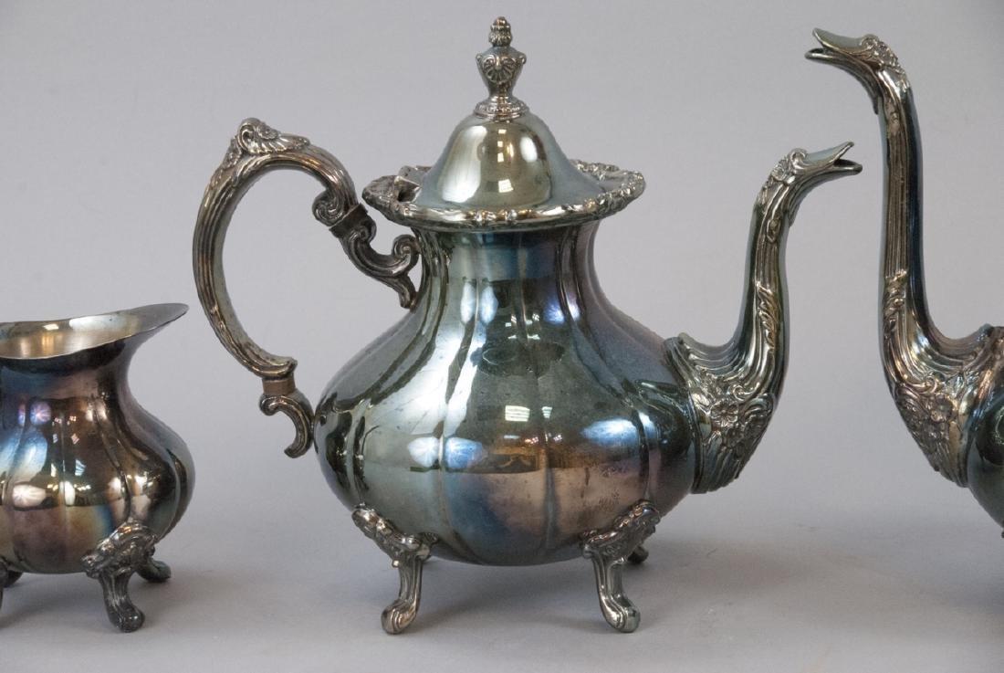 Silver Plate Georgian Rose Style 4-piece Tea Set - 5