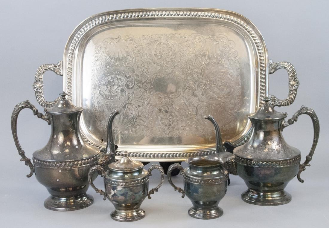 Edwardian Style Silver Plated Tray and Tea Set