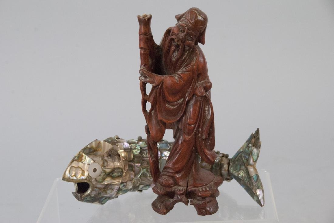 Carved Wood Chinese Statue & Articulated Fish