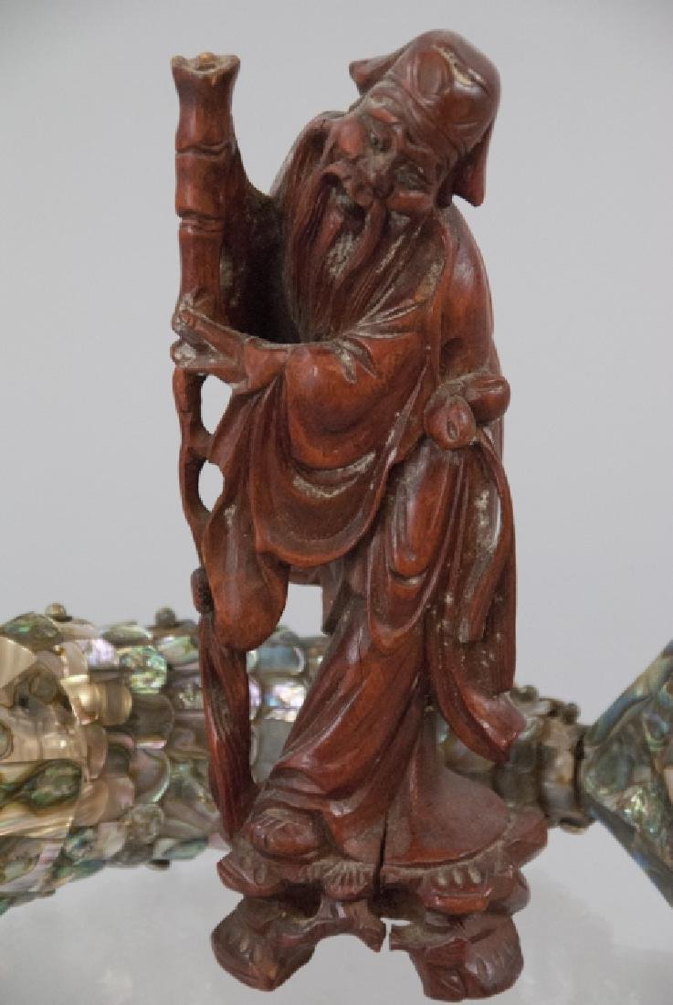 Carved Wood Chinese Statue & Articulated Fish - 2