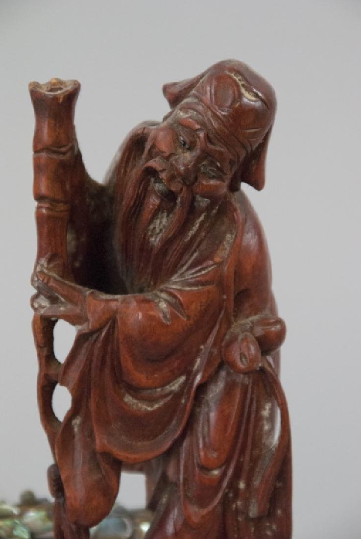 Carved Wood Chinese Statue & Articulated Fish - 3