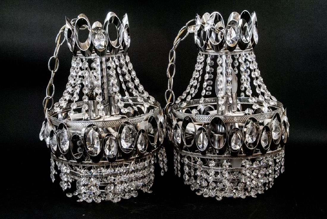 Mid Century Modern Chrome Tone Crystal Chandeliers