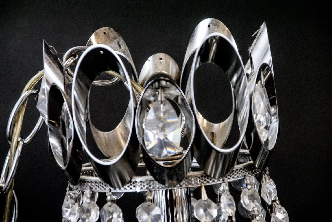 Mid Century Modern Chrome Tone Crystal Chandeliers - 8