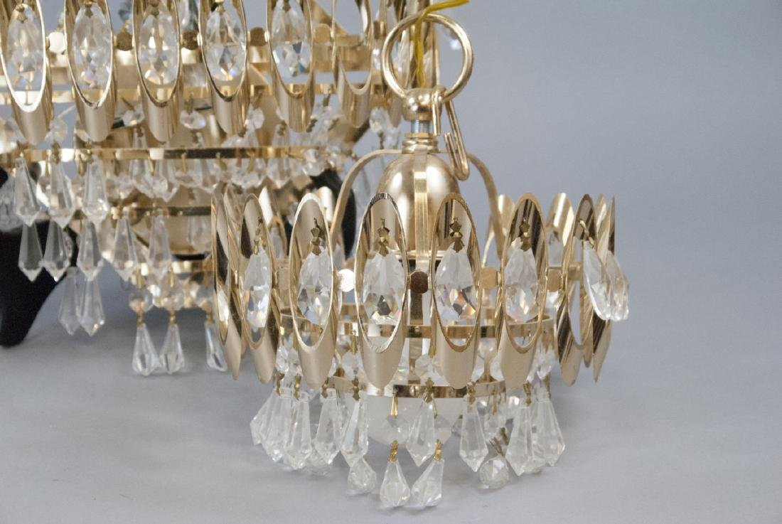 Mid Century Modern Gold Tone Crystal Lighting - 2