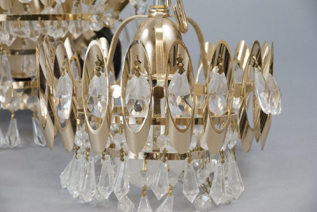 Mid Century Modern Gold Tone Crystal Lighting - 3