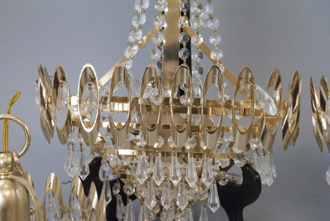 Mid Century Modern Gold Tone Crystal Lighting - 4