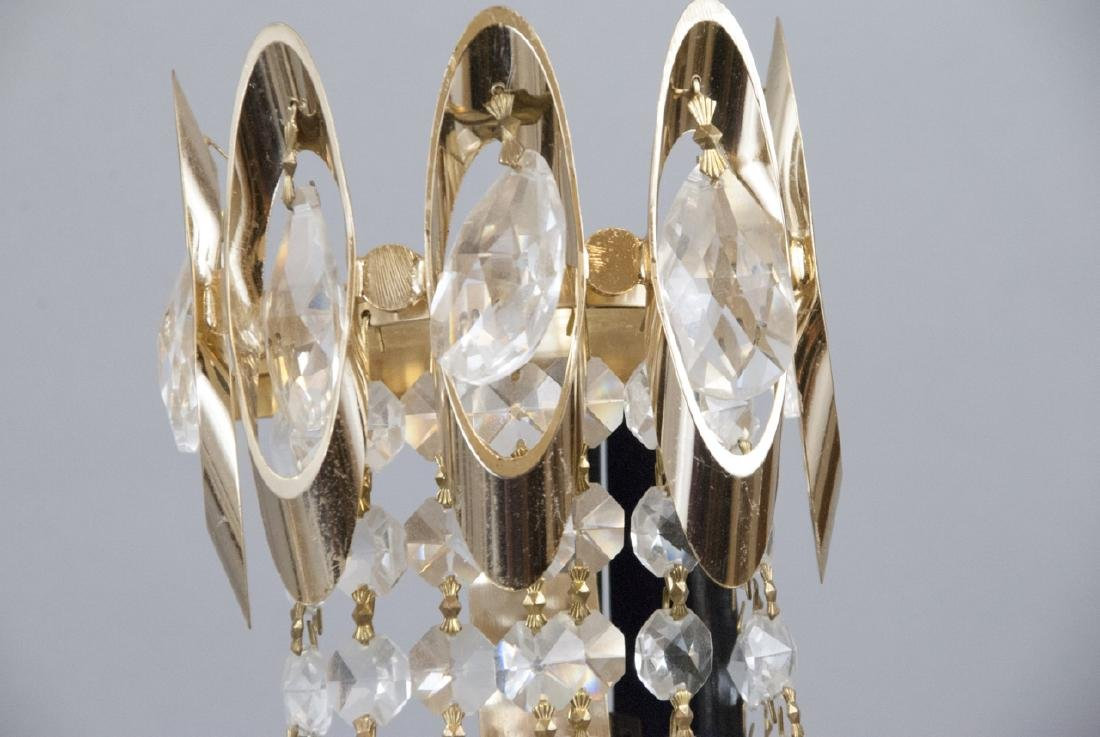 Mid Century Modern Gold Tone Crystal Lighting - 5