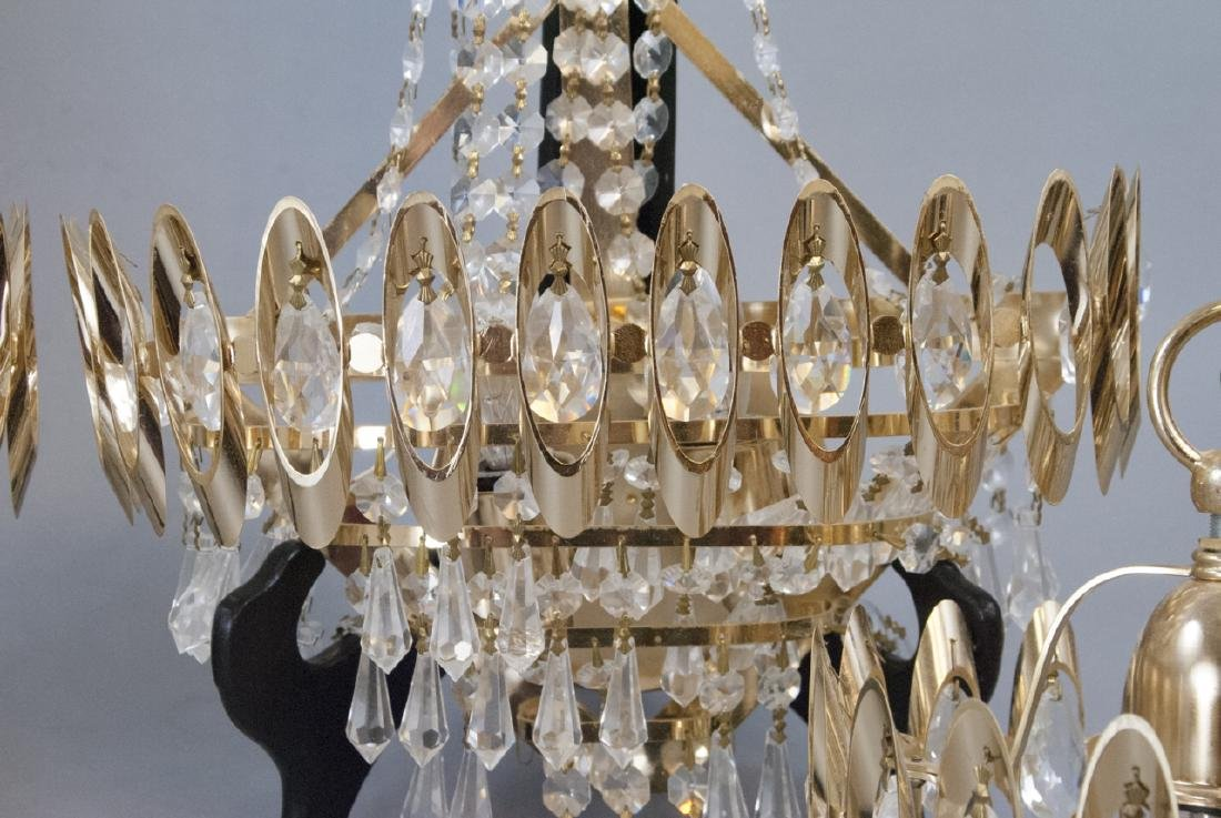 Mid Century Modern Gold Tone Crystal Lighting - 7