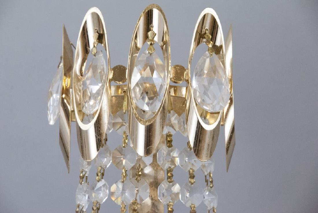 Mid Century Modern Gold Tone Crystal Lighting - 8