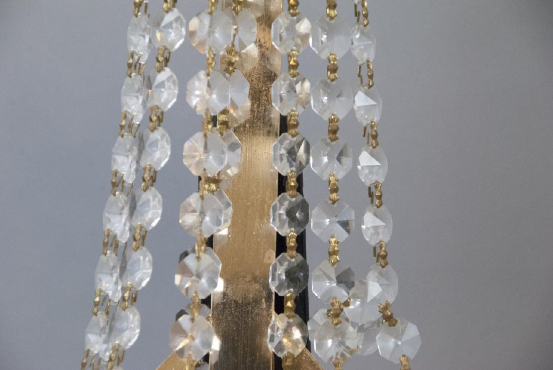 Mid Century Modern Gold Tone Crystal Lighting - 9