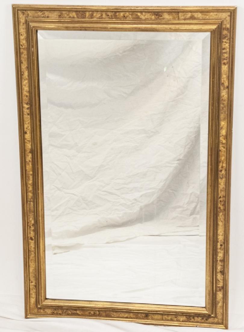 Custom Made Banded Burl Wood Wall Mirror