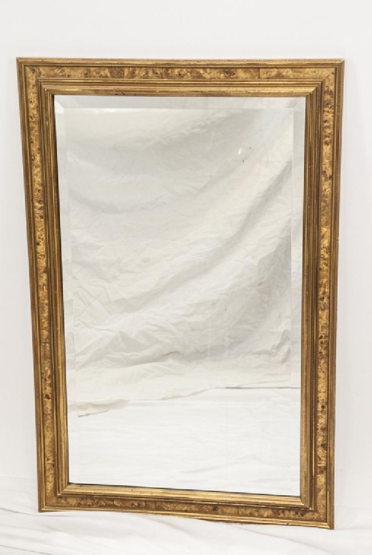 Custom Made Banded Burl Wood Wall Mirror - 2