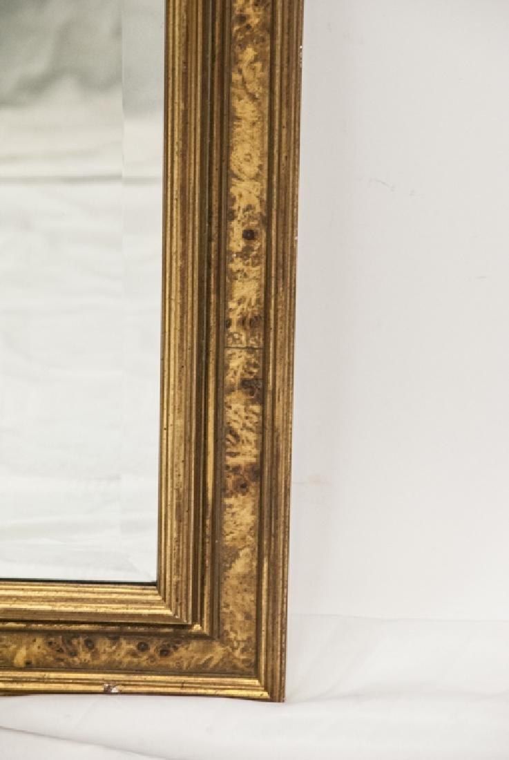 Custom Made Banded Burl Wood Wall Mirror - 4