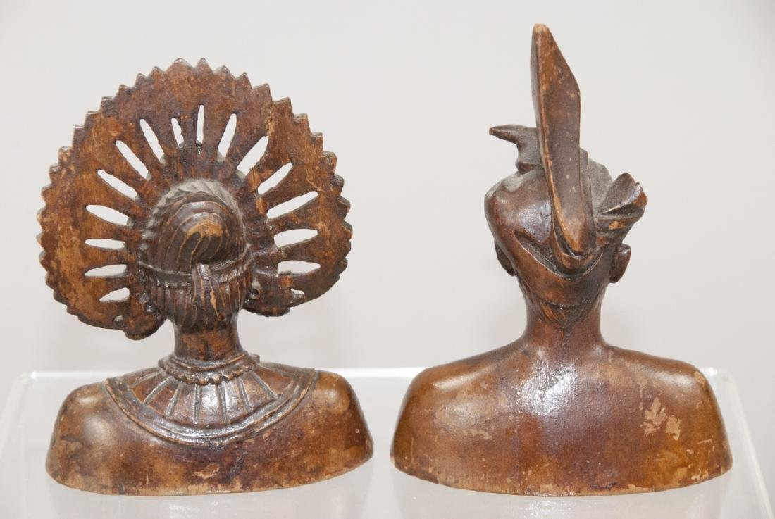 Pair Hand Carved Wood South East Asian Statues - 4