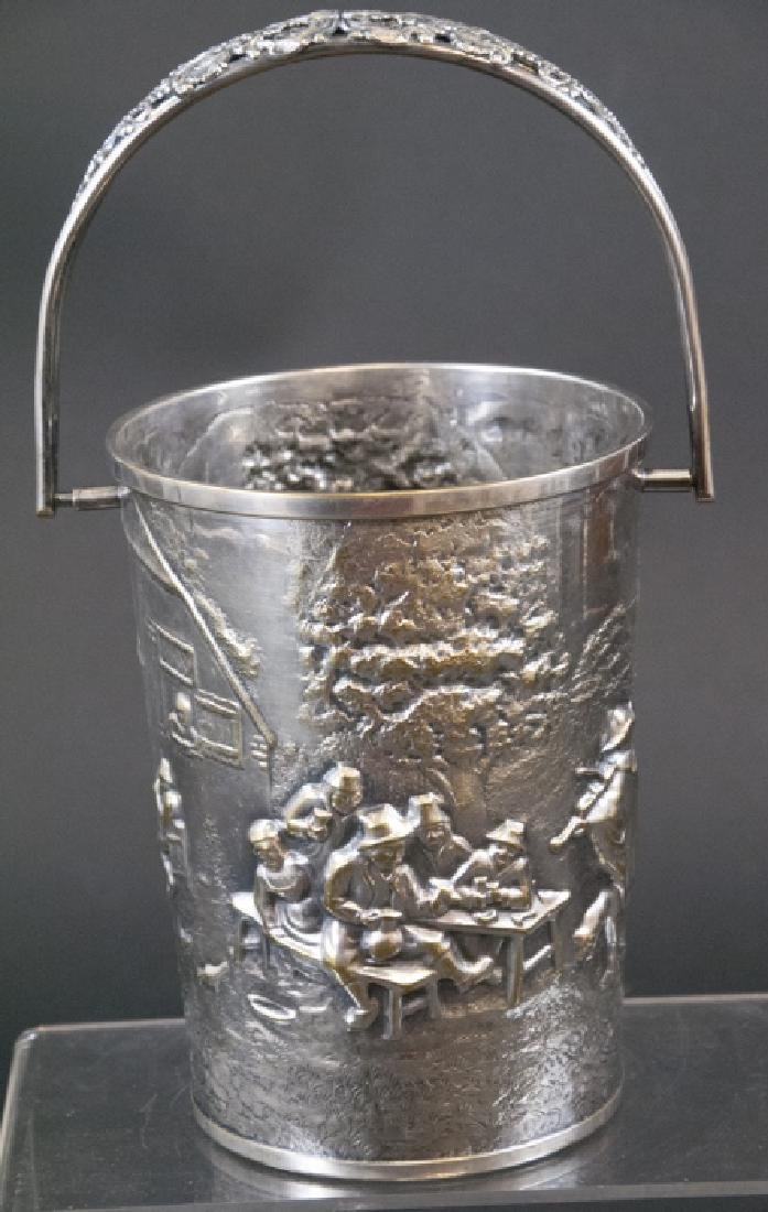 Antique Dutch Repousse Silver Plate Wine Caddy