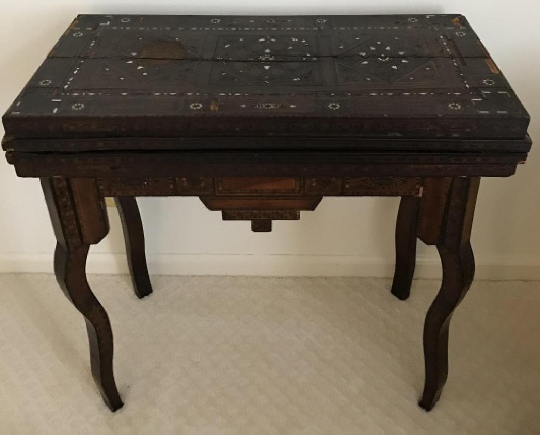 Antique 19th C Turkish Inlaid Games Table Console