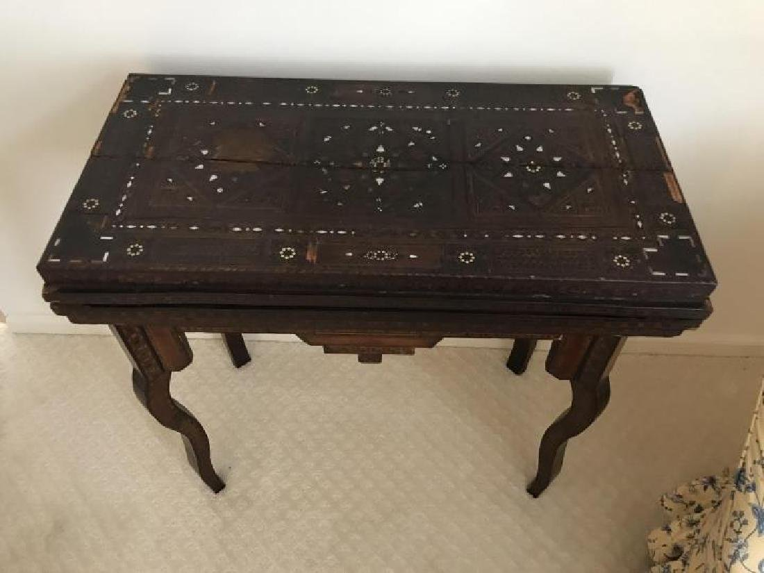 Antique 19th C Turkish Inlaid Games Table Console - 2