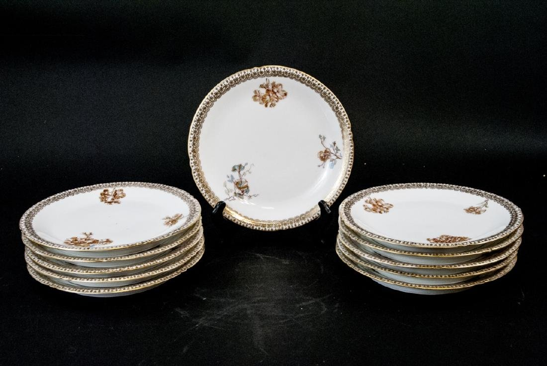 Set Limoges Lunch Plates Rose, Petunia, Gold Rim