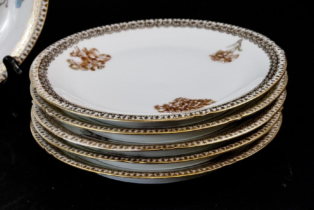 Set Limoges Lunch Plates Rose, Petunia, Gold Rim - 3