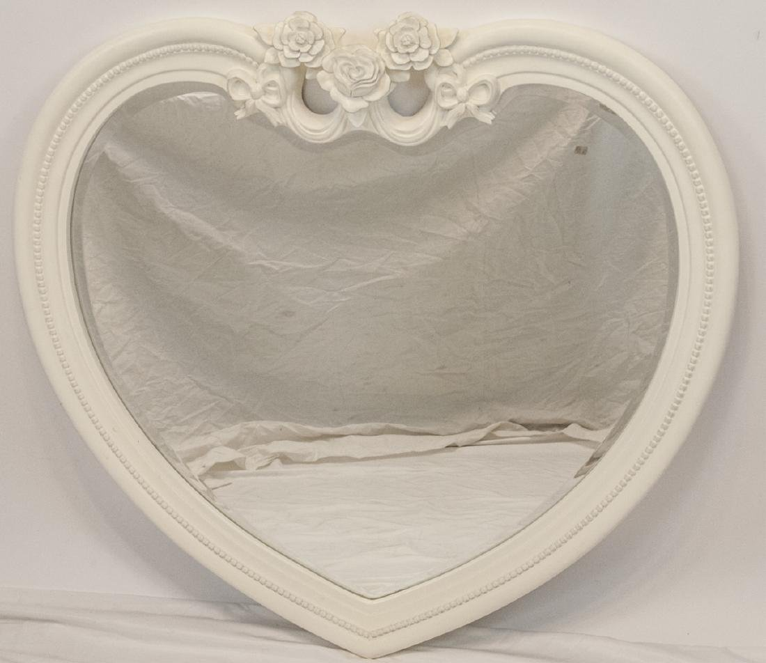 Contemporary White Heart Shaped Wall Mirror