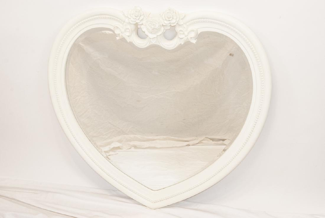 Contemporary White Heart Shaped Wall Mirror - 2