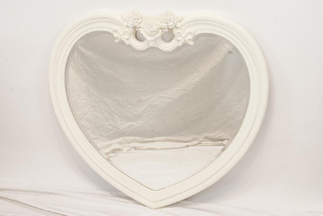 Contemporary White Heart Shaped Wall Mirror - 5