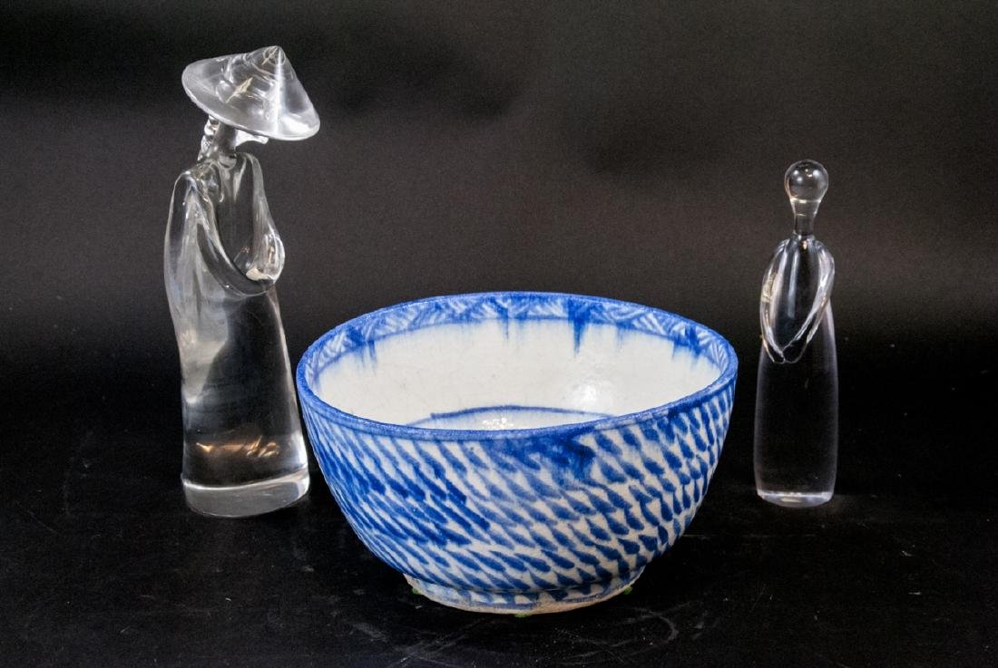 Asian Themed Art Glass Statues and Flo Blue Bowl