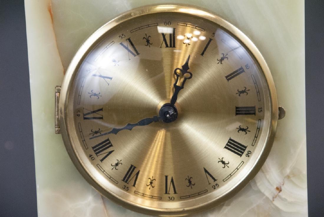 Vintage Green Onyx & Ormolu Table Clock - 4
