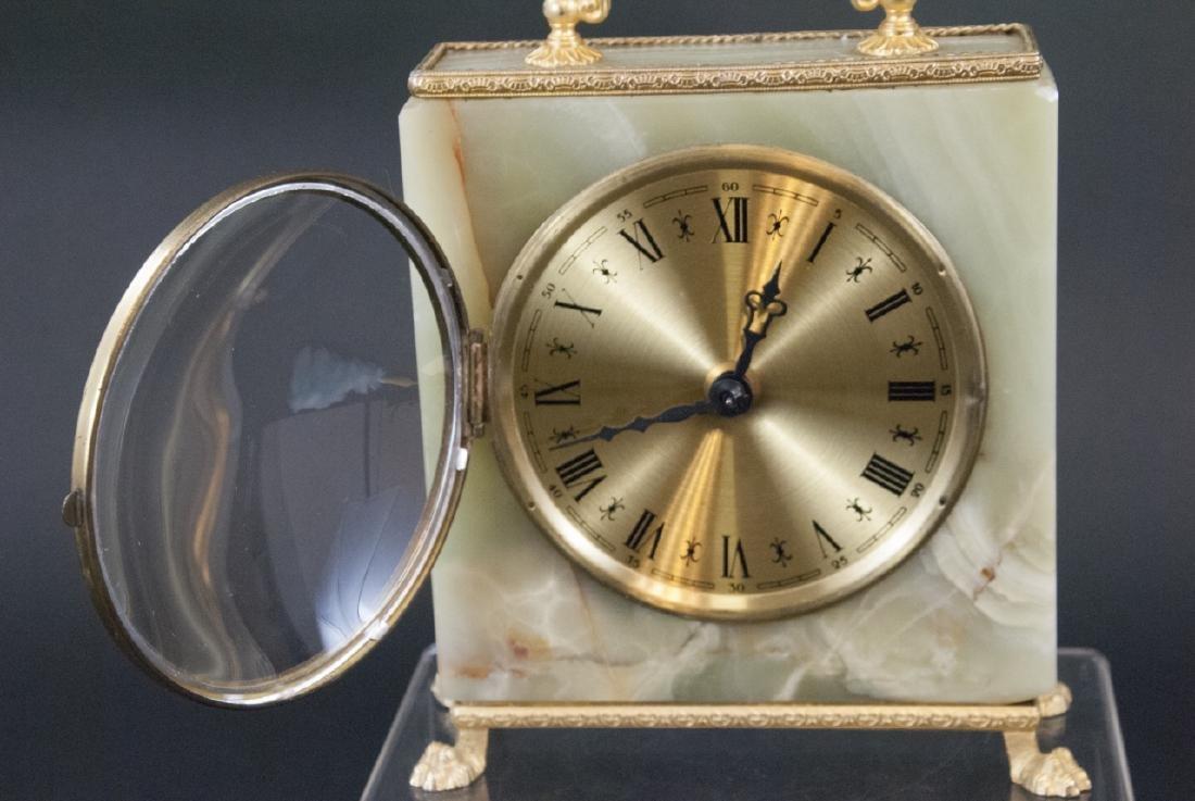 Vintage Green Onyx & Ormolu Table Clock - 5