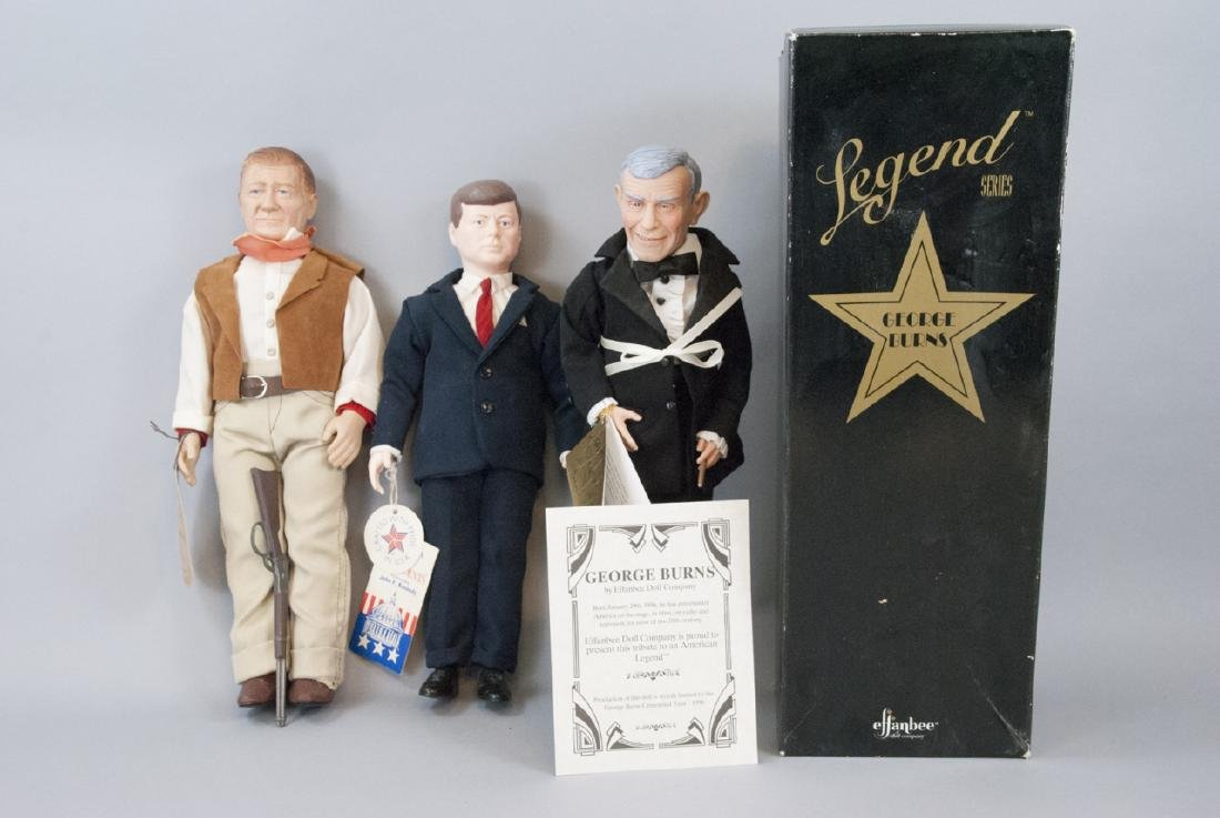 Effanbee Vintage Dolls, John Wayne, JFK, G. Burns