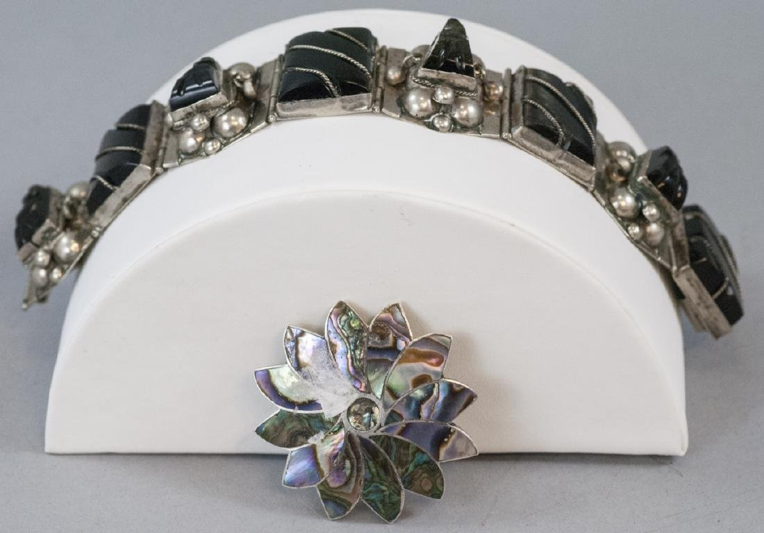 Vintage Mexico Sterling Silver Bracelet & Brooch