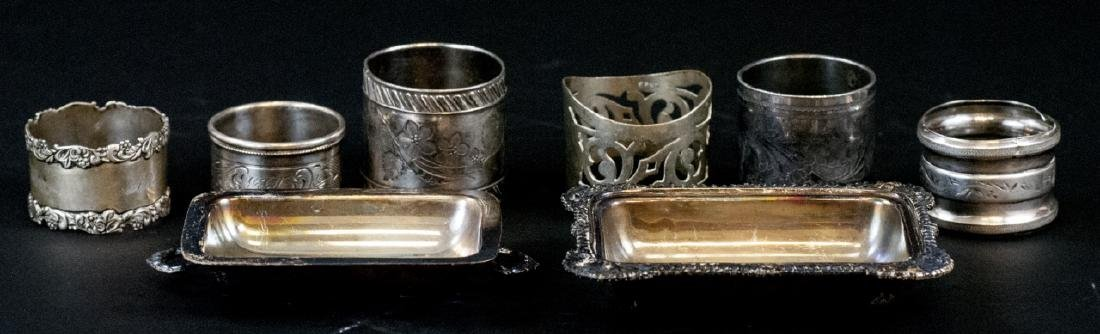 Sterling & Silver Plate Napkin Rings & Butter Dish