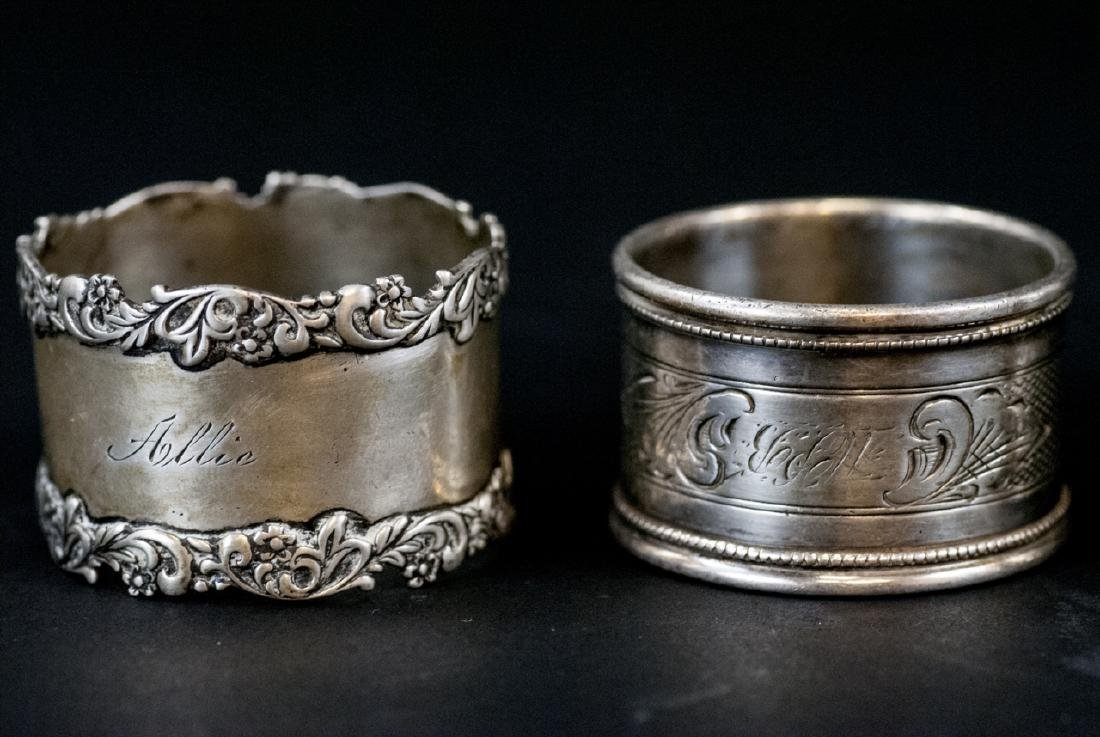 Sterling & Silver Plate Napkin Rings & Butter Dish - 3