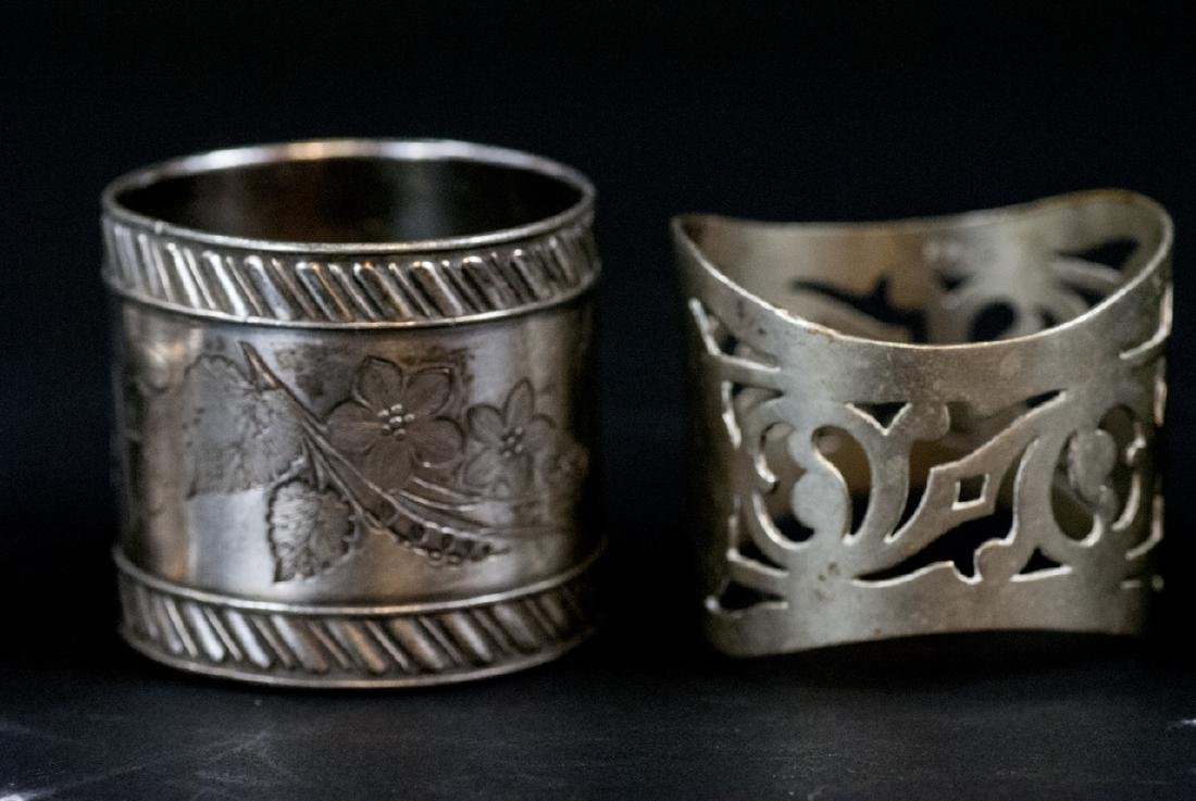 Sterling & Silver Plate Napkin Rings & Butter Dish - 4