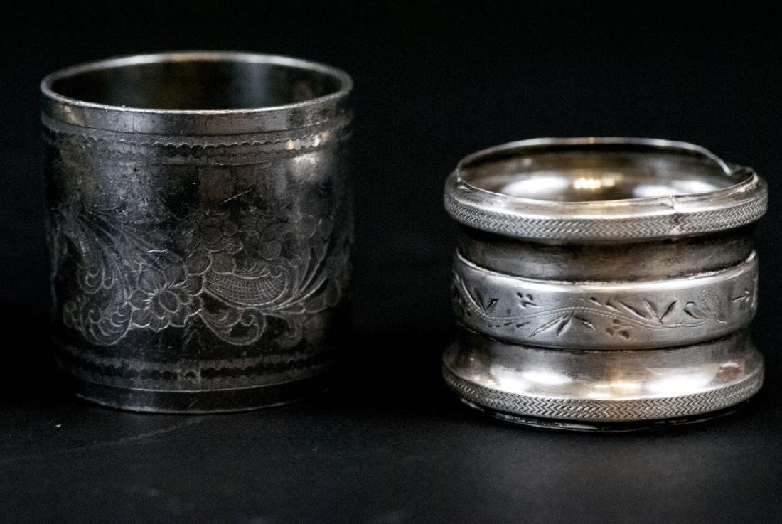 Sterling & Silver Plate Napkin Rings & Butter Dish - 5