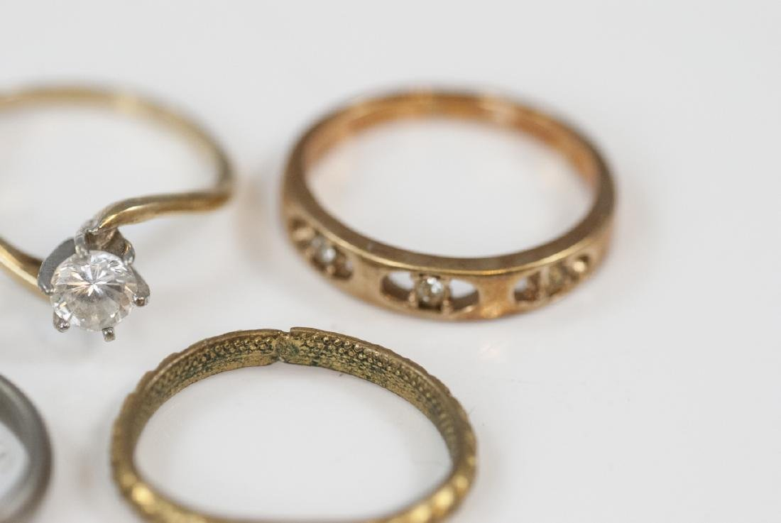 Group Antique Gold Filled, Plated & Silver Rings - 5