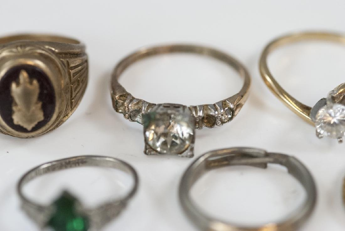 Group Antique Gold Filled, Plated & Silver Rings - 7