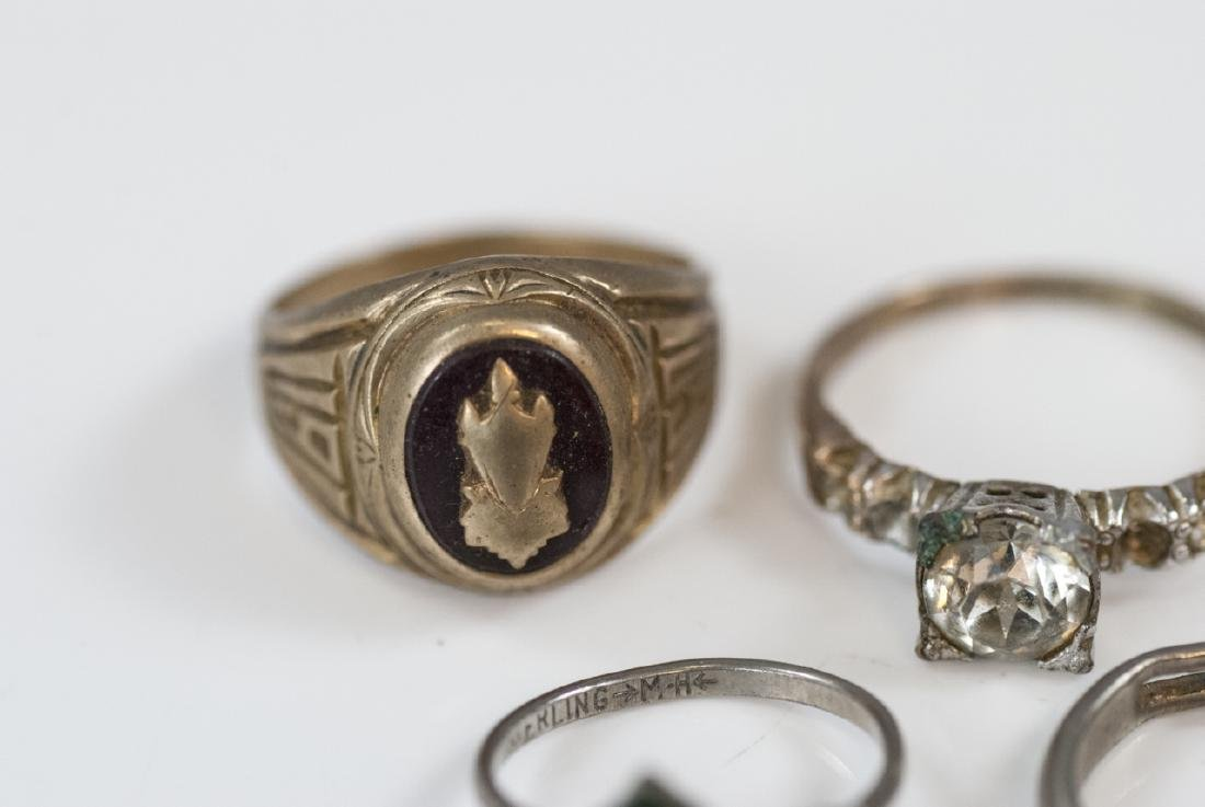 Group Antique Gold Filled, Plated & Silver Rings - 8