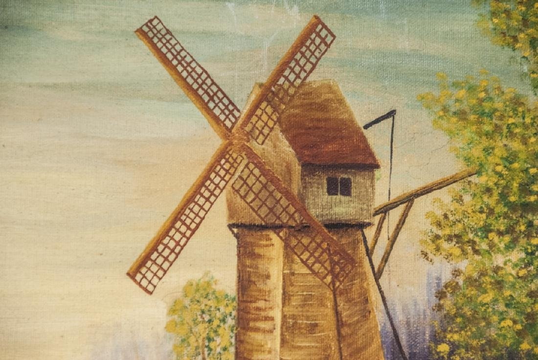 Oil on Canvas of Landscape & Windmill Scene - 3