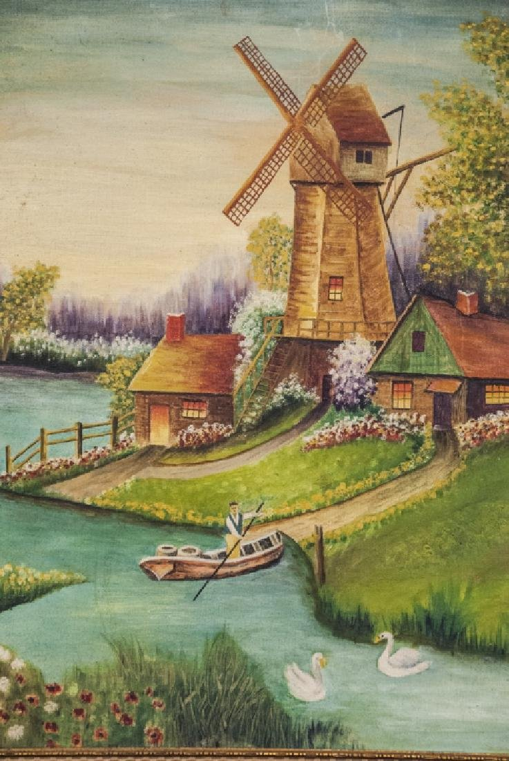 Oil on Canvas of Landscape & Windmill Scene - 4