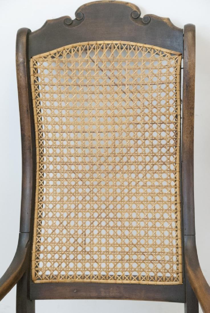 Antique Ladder Back & Caned Rocking Chair - 4