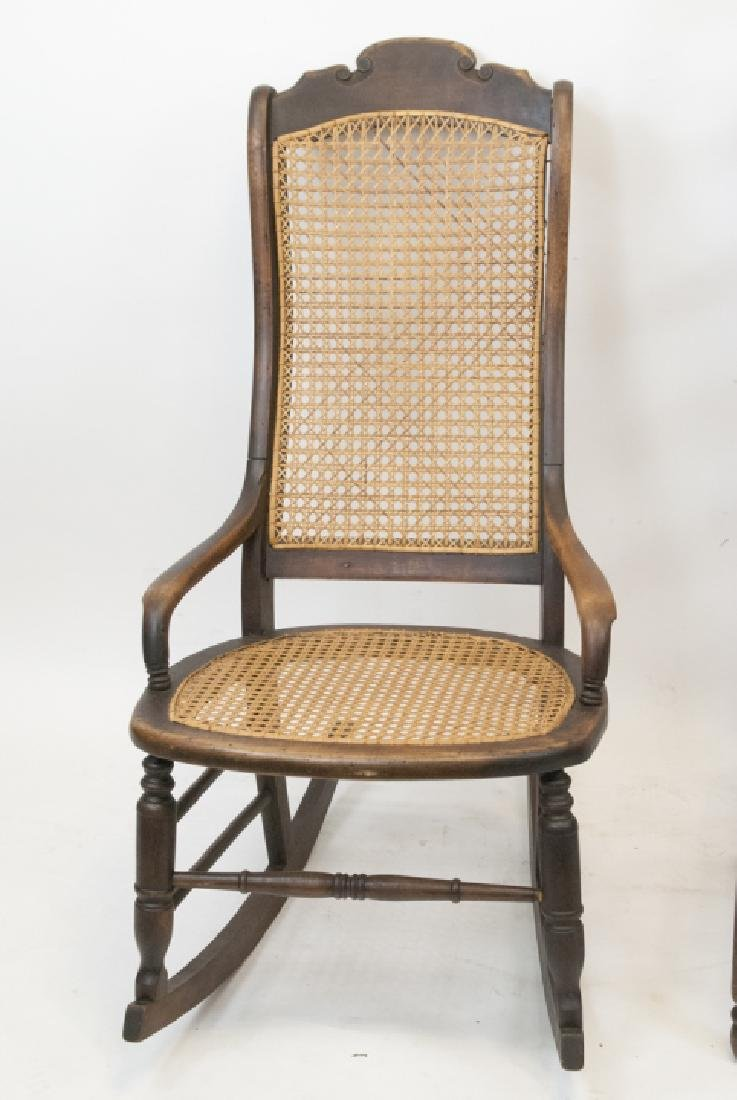 Antique Ladder Back & Caned Rocking Chair - 5