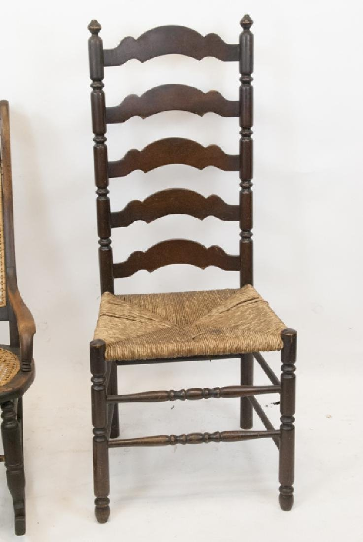 Antique Ladder Back & Caned Rocking Chair - 6