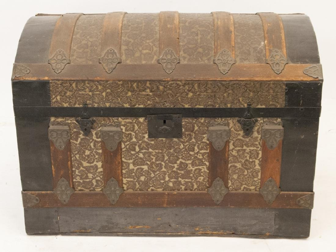Antique Steamer Trunk Tin Grape Motif Inlay