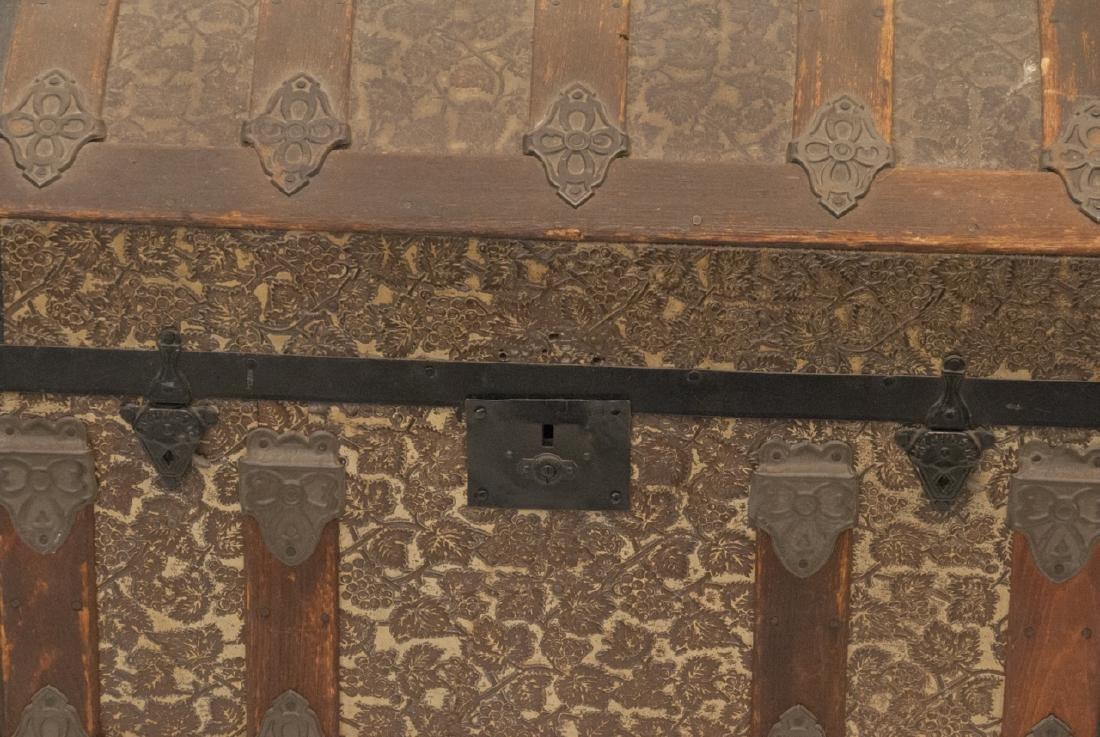 Antique Steamer Trunk Tin Grape Motif Inlay - 2