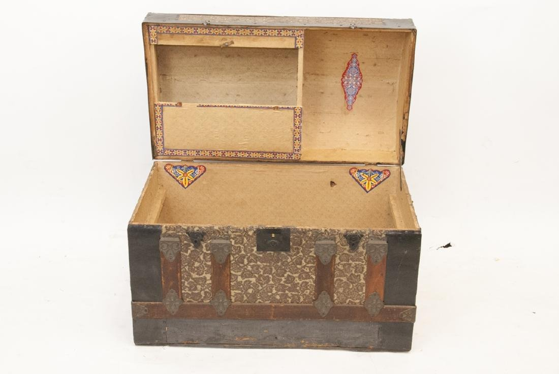 Antique Steamer Trunk Tin Grape Motif Inlay - 4