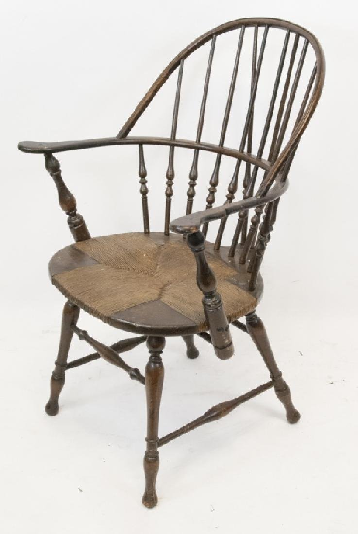 10Antique Hitchcock Style Arm Chair Rush Seat - 5