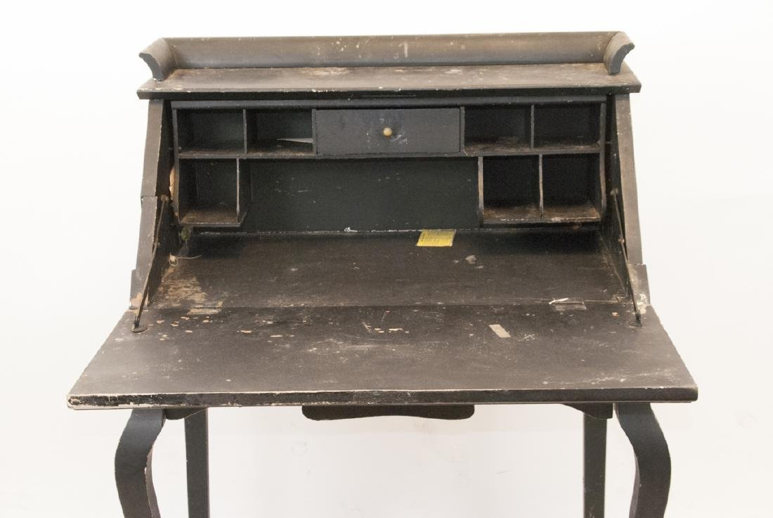 Antique Slant Top Pine Desk - 2