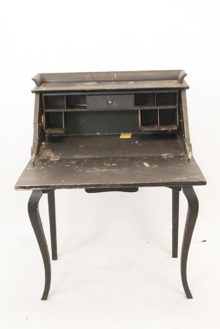 Antique Slant Top Pine Desk - 3