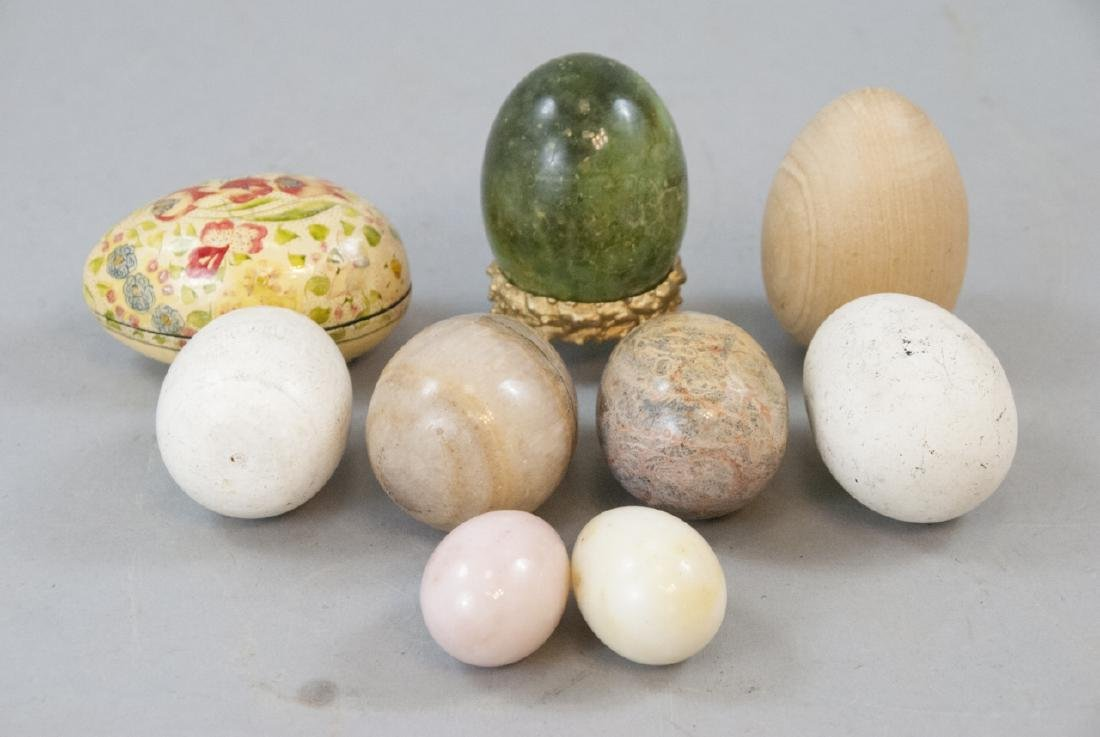 Vintage & Antique Marble & Wood Egg Figurines - 2